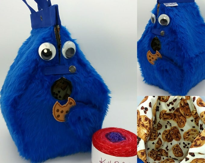 Cookie Monster Birdhouse Bag, FiberSpecial Birdhouse shaped project bag for knitting or crochet