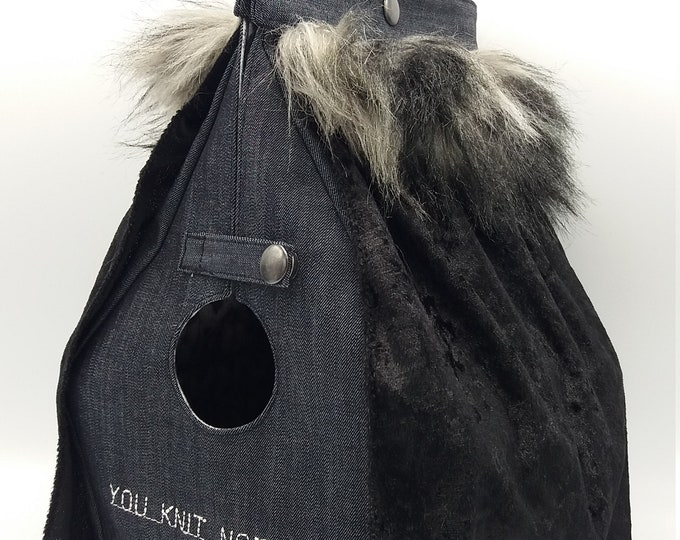 You knit nothing, Jon Snow, Game of Thrones series, Birdhouse shaped project bag for knitting or crochet