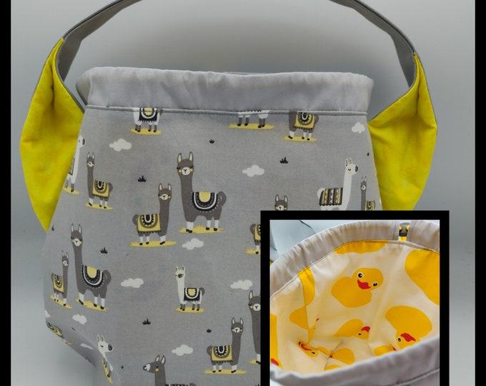 Ears bag, Sock Madness Llamallamaduck edition, knitting bag, project bag, drawstring bag for knitting, crochet or anything you like