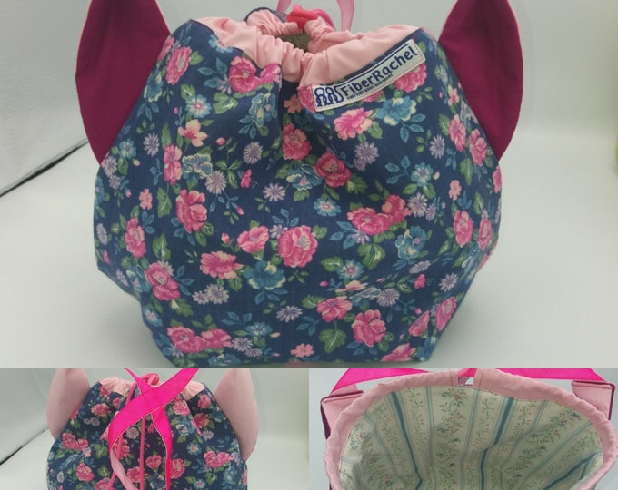 Flower power fund 6, SPECIAL Pink Ribbon EDITION  Ears bag, cat version, drawstring bag for knitting, crochet or anything you like