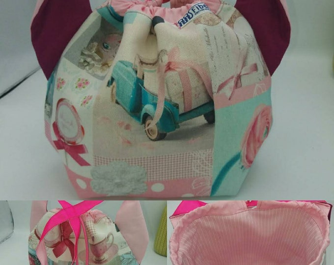 Flower power fund 14, SPECIAL Pink Ribbon EDITION  Ears bag, cat version, drawstring bag for knitting, crochet or anything you like