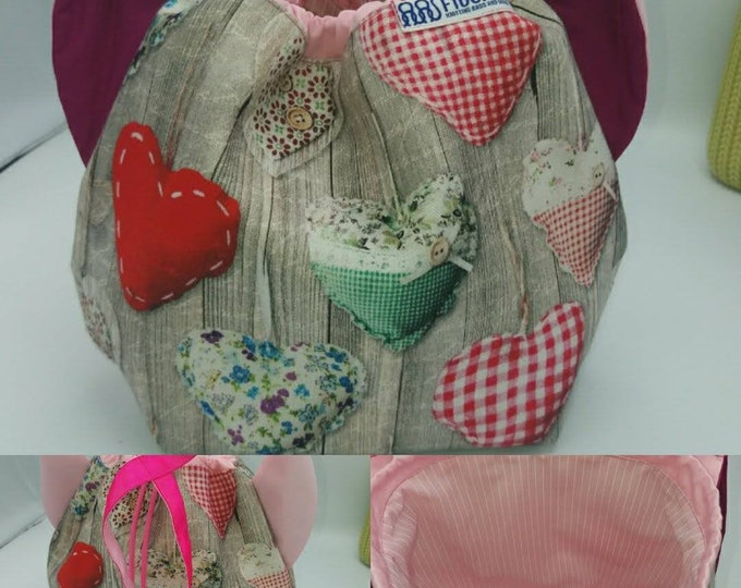 Flower power fund 5, SPECIAL Pink Ribbon EDITION  Ears bag, cat version, drawstring bag for knitting, crochet or anything you like