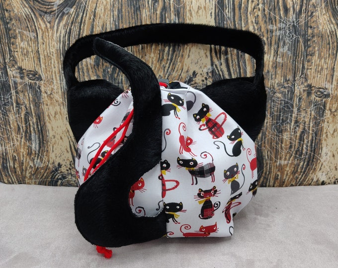 Cat Ears Project bag with a tail, for knitters,  closes with a drawstring and is fully lined