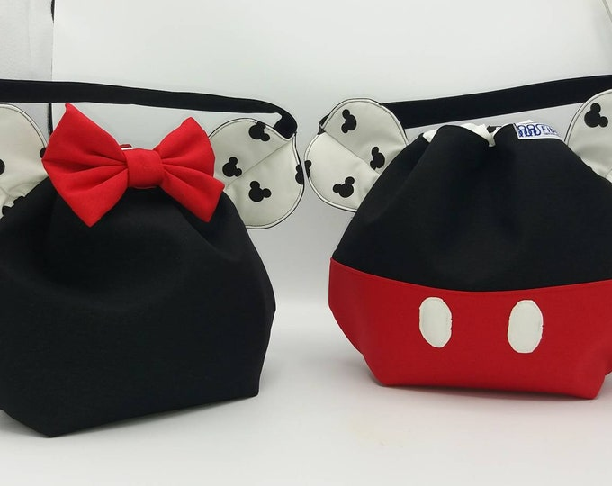 SPECIAL Mickey and Minnie mouse EDITION Disney Ears bag, mouse edition, drawstring bag for knitting, crochet or anything you like