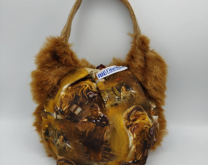 Chewy, cuddly furry science fiction space monster Earsbag, projectbag, drawstring bag for knitting, crochet or anything you like