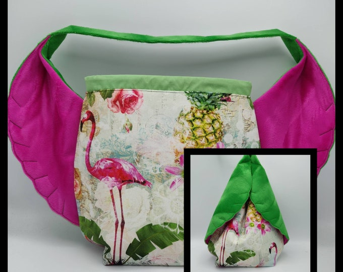 Flamingo Bird Wing knitting project Bag XL, variation on the earsbag, drawstring bag for knitting, crochet or anything you like