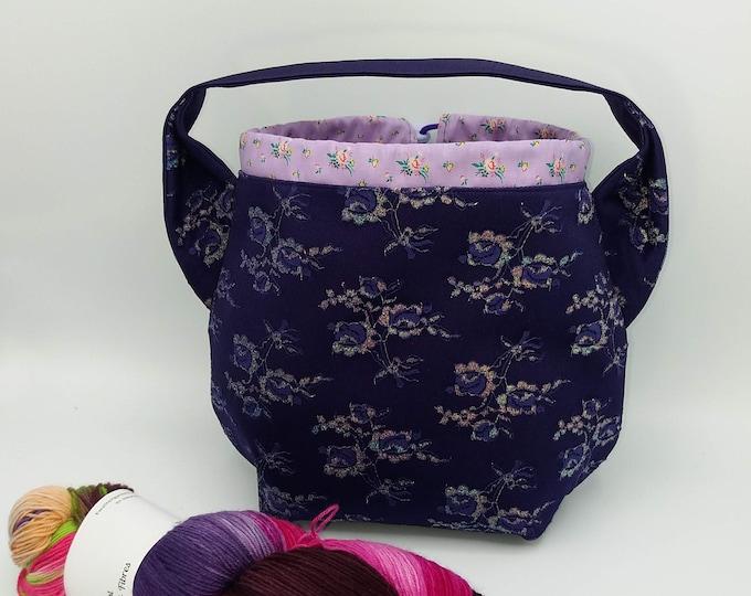 Purple glitter Ears bag, knitting bag, project bag, drawstring bag for knitting, crochet or anything you like