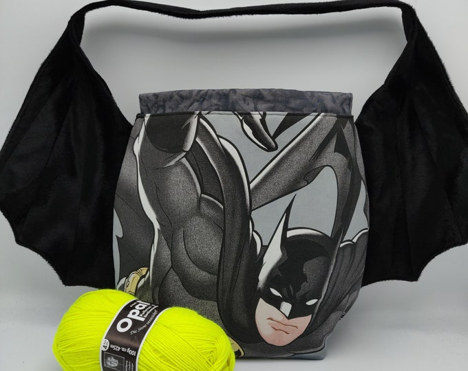 Batman Gothic Superhero Batwing/Cape bag XL, variation on the earsbag, drawstring bag for knitting, crochet or anything you like