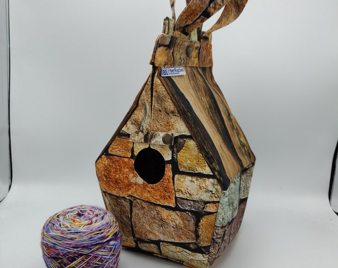 Castle bag, Windsor Castle edition, Birdhouse shaped project bag for knitting or crochet