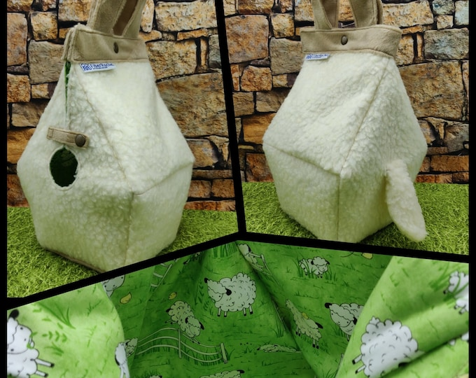 Cuddly Sheep Birdhouse Project bag with a cute tail, for knitters or crocheters, fully lined, Birdhouse shaped knitting bag, semi waterproof