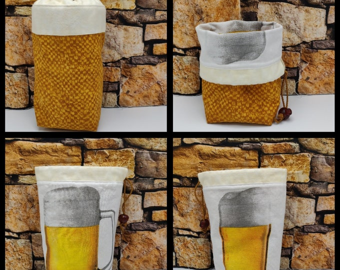 Project bag Beer Twofer, reversible pouch for knitters or crocheters, fully lined with a drawstring.