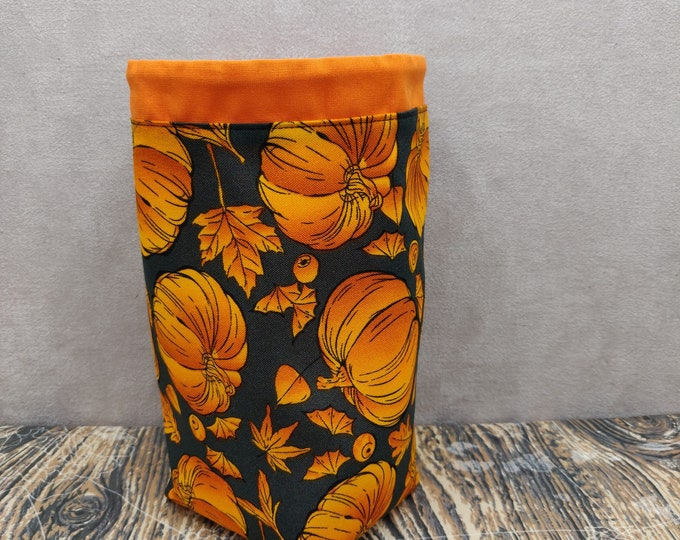 Pumpkin Project bag Twofer, reversible pouch for knitters or crocheters, fully lined with a drawstring.
