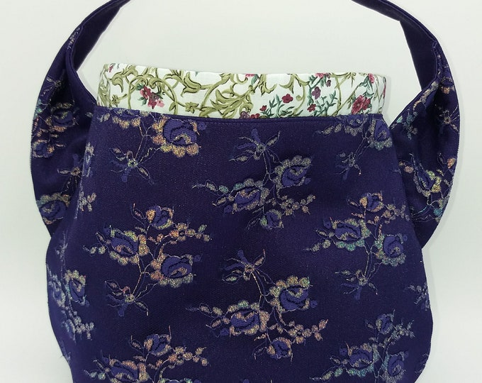 Purple glitter Ears bag, knitting bag, project bag, drawstring bag for knitting, crochet or anything you like