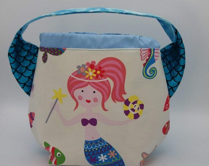 Mermaid ears bag, knitting bag, project bag, drawstring bag for knitting, crochet or anything you like