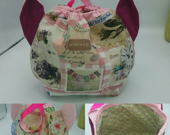 Flower power fund 9, SPECIAL Pink Ribbon EDITION  Ears bag, cat version, drawstring bag for knitting, crochet or anything you like