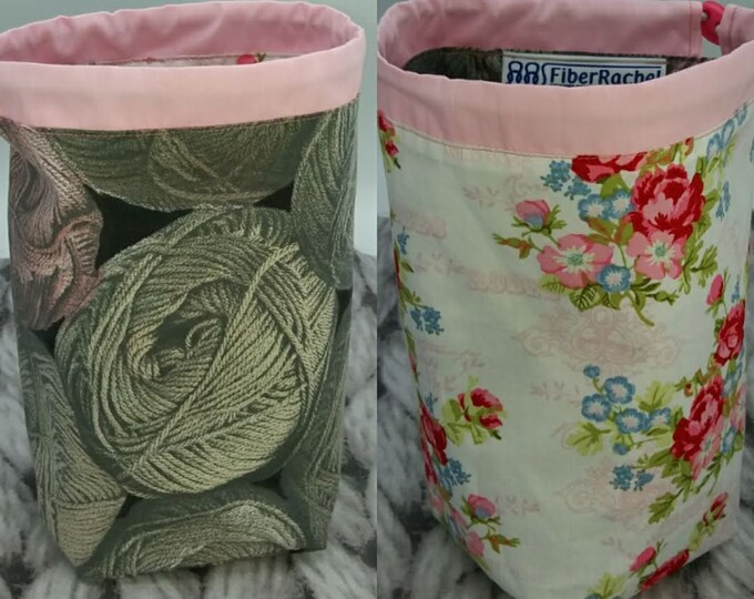 Twofer project bag, for knitting or crochet, suitable for small projects up to 100 g of yarn