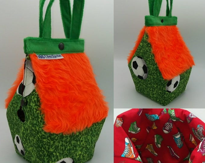 Soccer Football Birdhouse Bag, Sockhouse sized Birdhouse shaped project bag for knitting or crochet