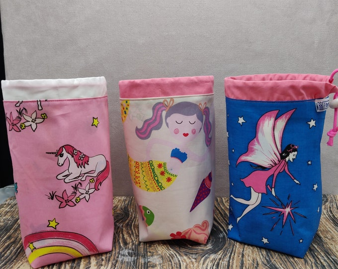 Pink Fantasy Twofer reversible Project bag , reversible pouch for knitters or crocheters, fully lined with a drawstring.