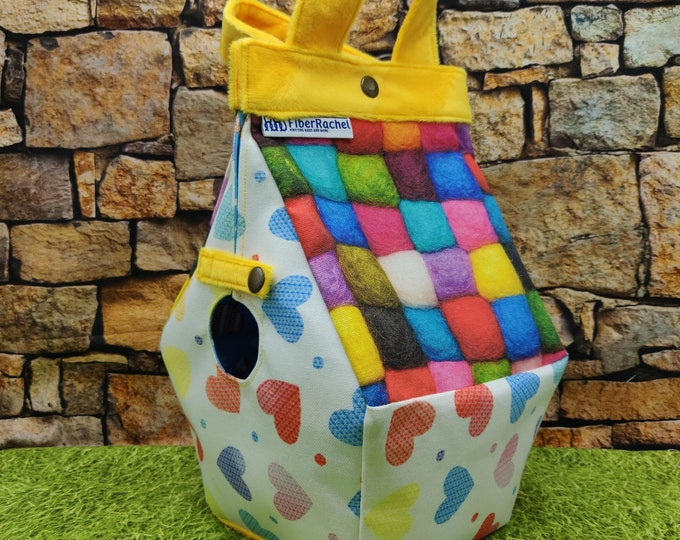 Birdhouse Project bag with a knitting print, for knitters or crocheters, fully lined, Birdhouse shaped knitting bag