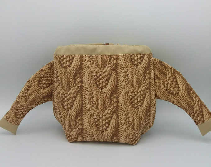 The Knitted Sweater Bag, drawstring bag for knitting, crochet or anything you like, knitted Jumper, project bag, knitting bag