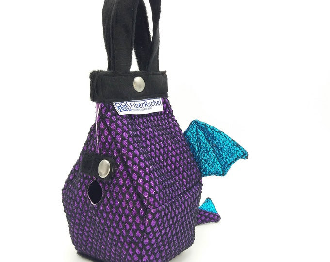 Baby Dragon Tinyhouse Bag, Birdhouse shaped project bag for knitting or crochet, or whatever you like