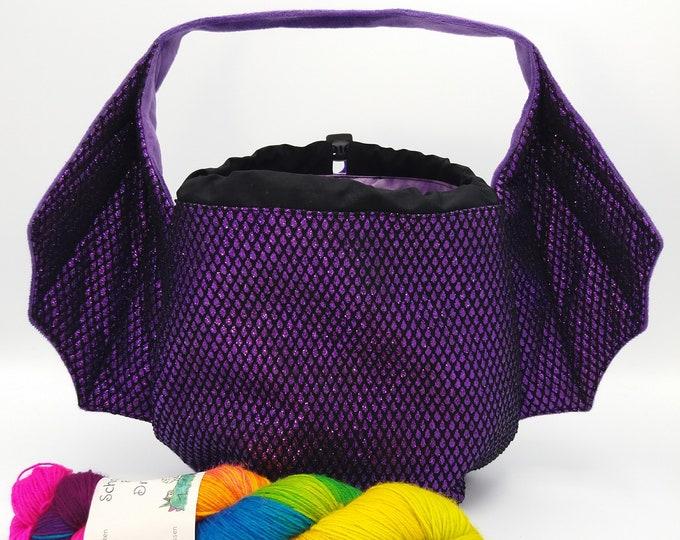 Dragon Wing bag, variation on the earsbag, drawstring bag for knitting, crochet or anything you like