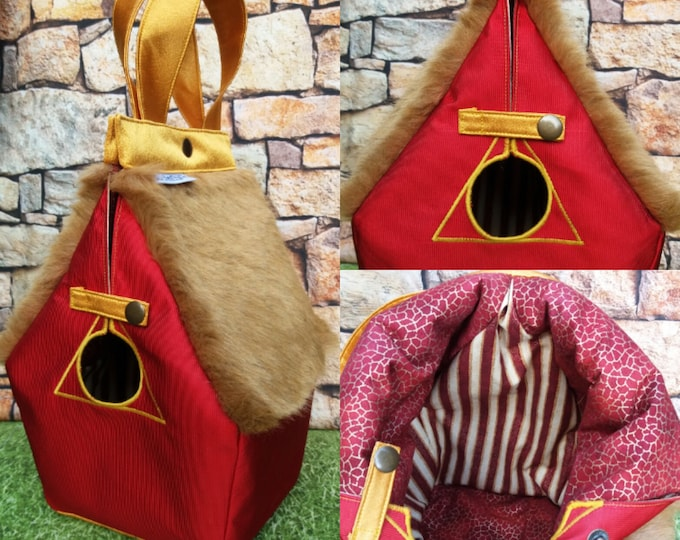 Griffindor, Hogwarts house, FiberSpecial 'Harry Potter' Birdhouse shaped project bag for knitting or crochet