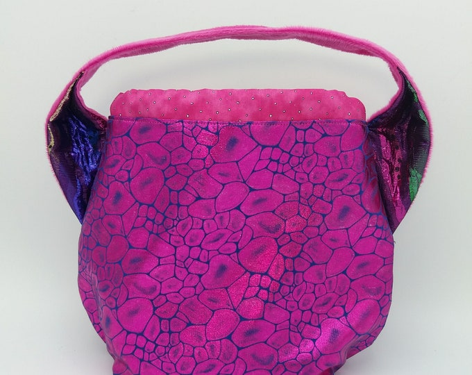 Pink Glitter Ears bag, knitting bag, project bag, drawstring bag for knitting, crochet or anything you like