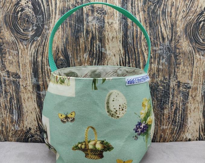 Easter Egg themed Fiber Basket/yarn bowl/spinning basket/spindle basket, fully lined