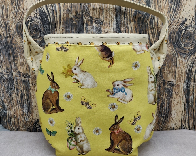 CLEARENCE, REDUCED PRICE Easter Egg themed xl  Ears bag, project bag, knitting bag, crochet bag, shoulder bag, lined with drawstring closure