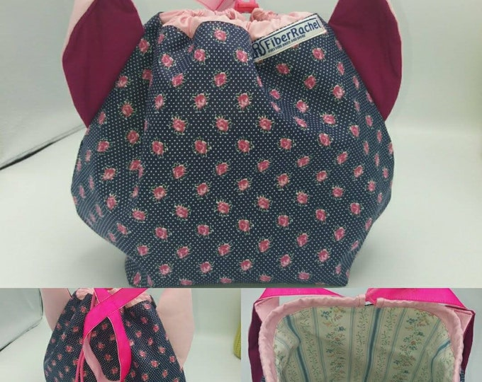 Flower power fund 7, SPECIAL Pink Ribbon EDITION  Ears bag, cat version, drawstring bag for knitting, crochet or anything you like