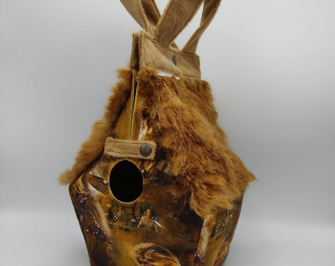 Chewy, cuddly furry space monster science fiction Birdhouse Bag Birdhouse shaped project bag for knitting or crochet