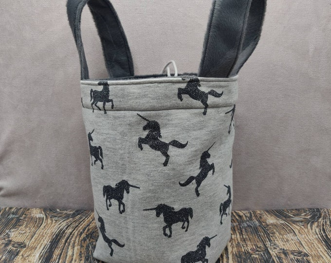 Unicorn glitter Project bag Knitting Bucket for knitters or crocheters, fully lined with a drawstring and handles