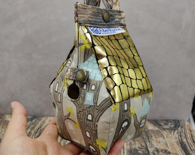Fairy Treehouse Glow-in-the-dark mini Tinyhouse Bag, Birdhouse shaped project bag for knitting or crochet, or whatever you like