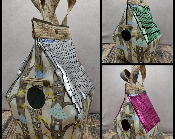 The very last ones !! Fairy Treehouse Glow-in-the-dark Birdhouse Project bag for knitters or crocheters, fully lined, Birdhouse shaped