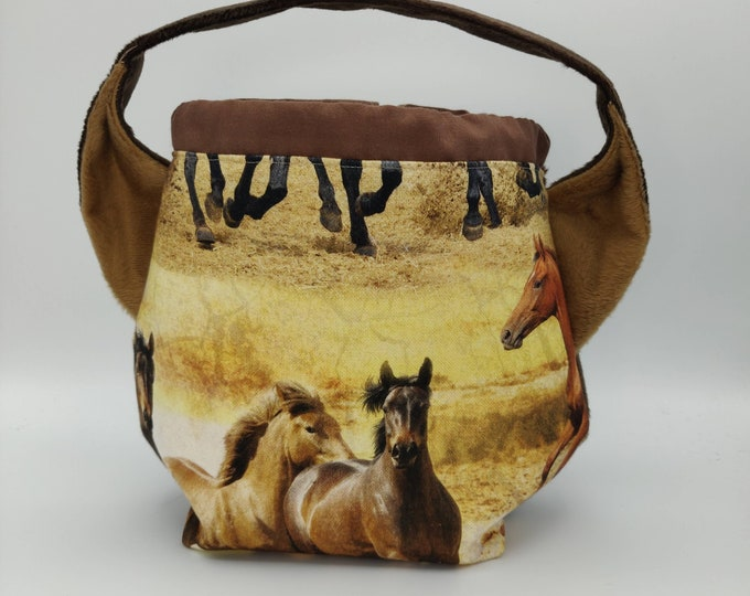 Horse themed Ears bag with manes, knitting bag, project bag, drawstring bag for knitting, crochet or anything you like