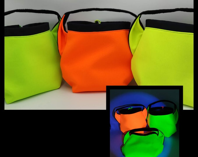 Neon Ears Project bag for knitters, UV light reactive, glows in black light, closes with a drawstring and is fully lined