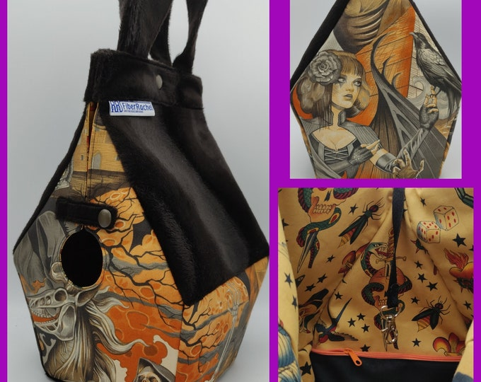 Gothic/Halloween Birdhouse Bag 2.0, extra sturdy with inside pockets, Birdhouse shaped project bag for knitting or crochet