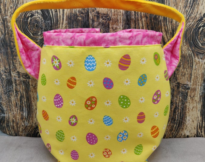 Easter Egg themed XL Ears bag, project bag, knitting bag, crochet bag, shoulder bag, lined with drawstring closure