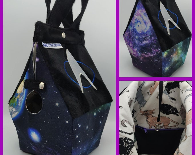 Science fiction space themed Birdhouse Bag 2.0, birdhouse shaped project bag for knitting or crochet