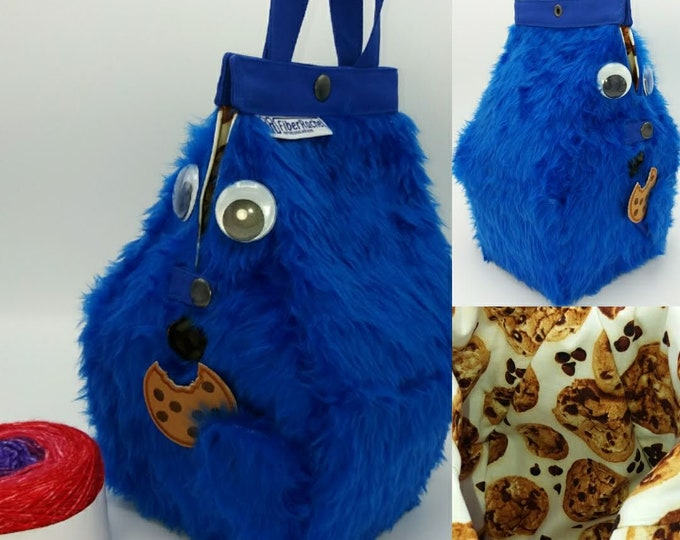Cookie Monster Sockhouse Bag, FiberSpecial Birdhouse shaped project bag for knitting or crochet