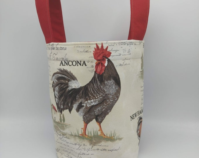 Project bag Knitting Bucket in a chicken theme for knitters or crocheters, fully lined with a drawstring and handles