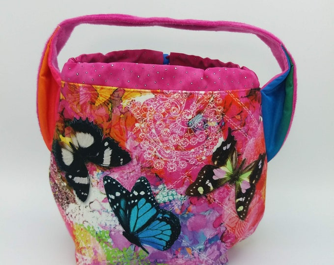 Butterfly Ears bag, knitting bag, project bag, drawstring bag for knitting, crochet or anything you like