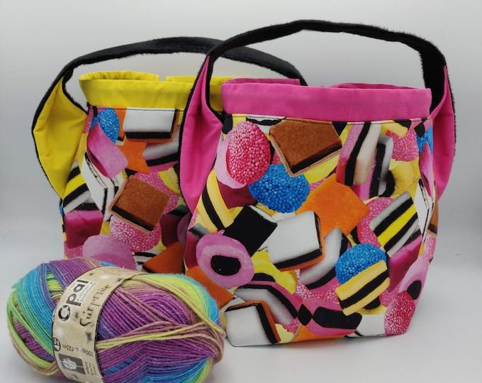 Liquorice All Sorts Ears bag, knitting bag, project bag, drawstring bag for knitting, crochet or anything you like
