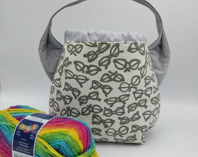 Specs Ears bag, Sock Madness edition, knitting bag, project bag, drawstring bag for knitting, crochet or anything you like