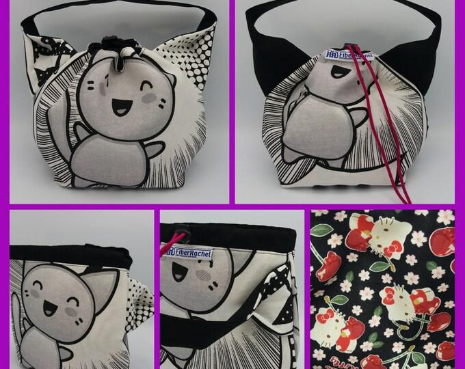 Japanese themed cat ears bag, knitting bag, project bag, drawstring bag for knitting, crochet or anything you like