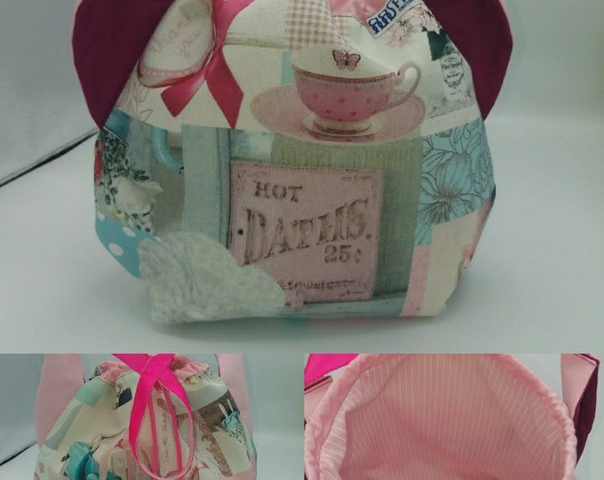Flower power fund 13, SPECIAL Pink Ribbon EDITION  Ears bag, cat version, drawstring bag for knitting, crochet or anything you like