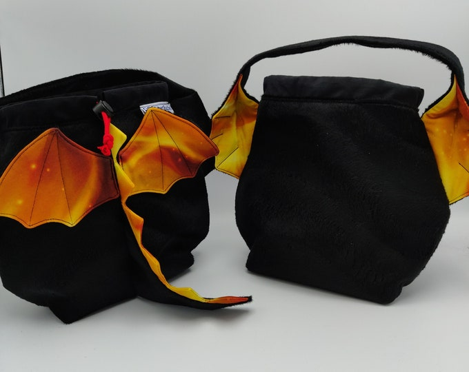 Dragon Earsbag, projectbag, drawstring bag for knitting, crochet or anything you like