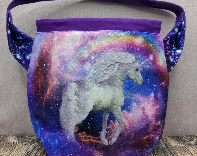Unicorn XL Ears bag, large drawstring bag for knitting, crochet or anything you like, sweater size with shoulderstrap