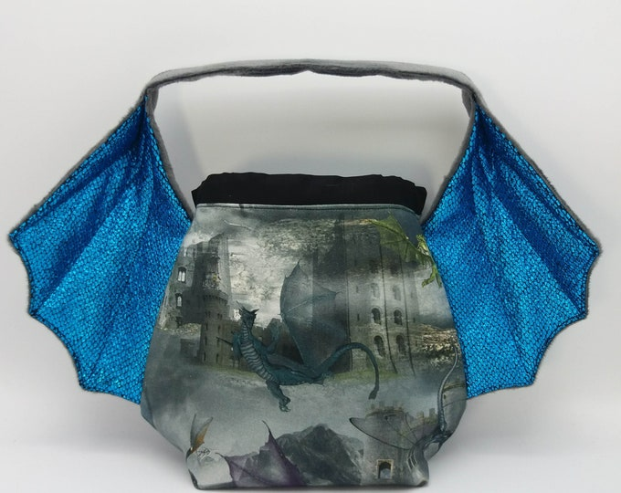 Dragon Wing bag, variation on the earsbag, drawstring bag for knitting, crochet or anything you like